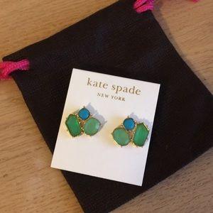 Kate spade coral green geo earrings